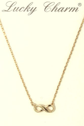Infinity bow charm necklace