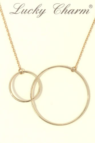 Cut out circle linked short necklace