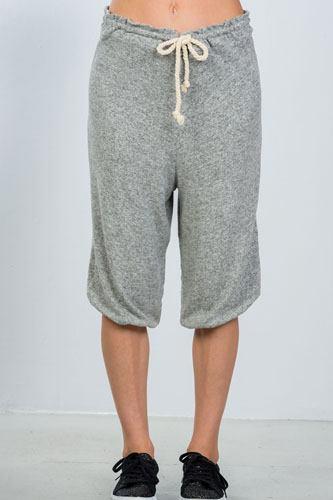 Ladies fashion grey drawstring waist loose capris pants