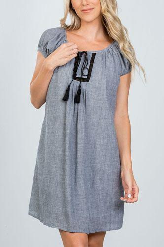 Ladies fashion tassel-tie boho shift dress