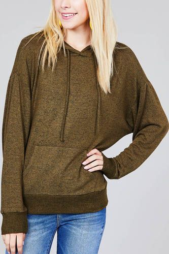 Ladies fashion long sleeve hoodie w/drawstring brushed hacci knit top
