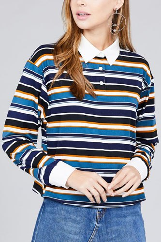 Ladies fashion long sleeve multi striped dty brushed shirts