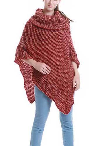 Two-tone turtle neck knit poncho