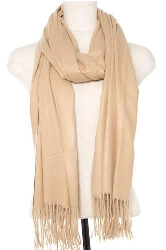 Oblong solid fringe trim scarf