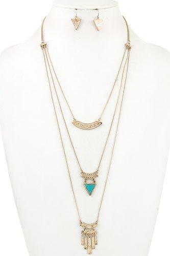 Multi layered fringe bar pendant necklace set