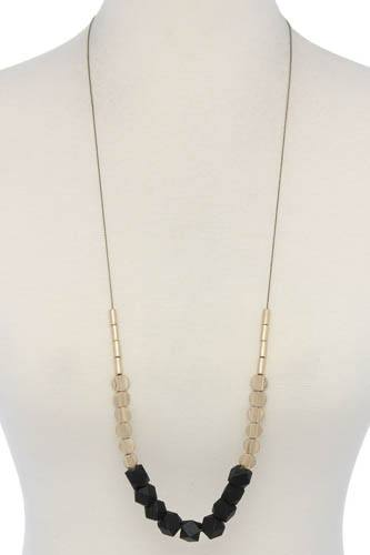 Wood geometric shape bead necklace