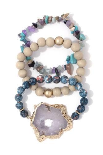Semi precious stone chunky stretch bracelet