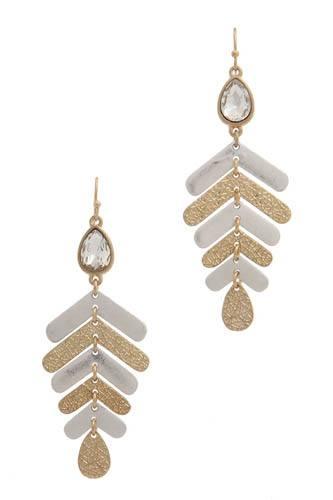 Rhinestone textured metal drop earring