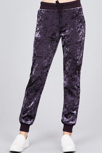 Waist contrast band w/drawstring ice velvet pants