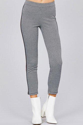 Side tape detail jacquard long pants