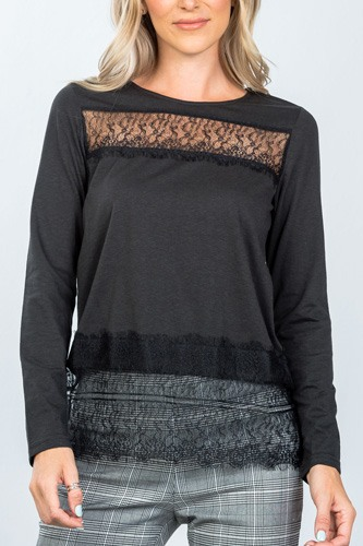 Boho lace-panel and hem top