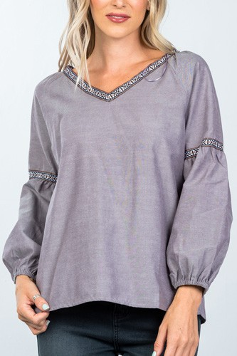 Boho drop shoulder embroidery blouse