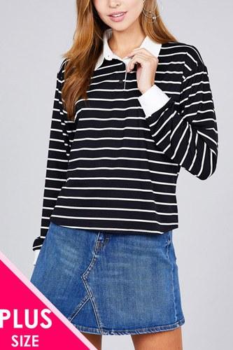 Ladies fashion plus size long sleeve striped dty brushed shirts