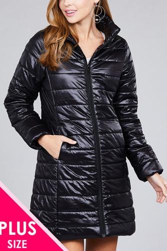 Ladies fashion plus size long sleeve quilted long padding jacket