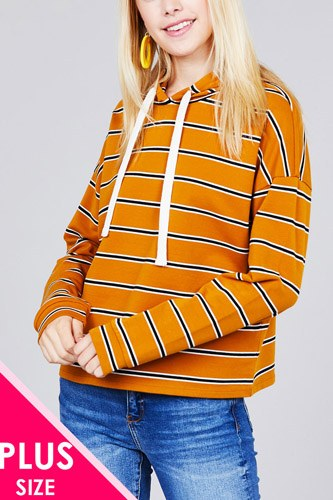 Ladies fashion plus size long sleeve hoodie w/drawstring stripe french terry top
