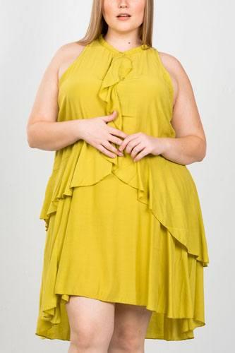 Ladies fashion plus size draped-ruffle front sleeveless swing mini dress