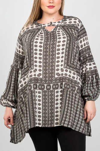 Ladies fashion plus size boho swing mix print tunic top