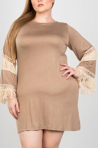 Ladies fashion plus size crochet mini dress