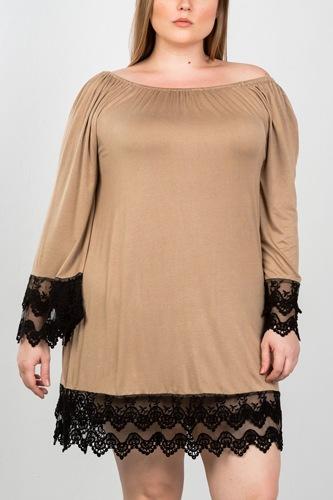 Ladies fashion plus size contrast crochet trim hem dress