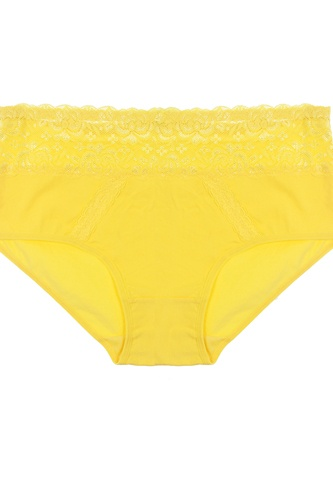 Lace thong with mesh band
