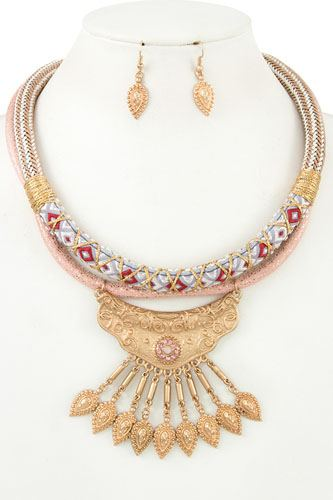 Multi cord fringe ornate bib necklace set