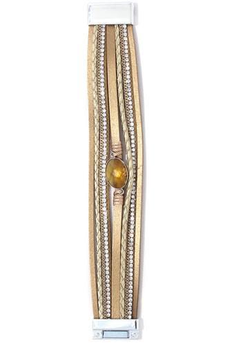 Rhinestone multi stand magnetic bracelet