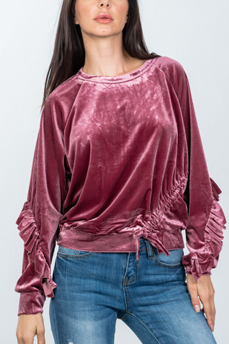 Ladies fashion ruched drawstring ruffle sleeves sweater