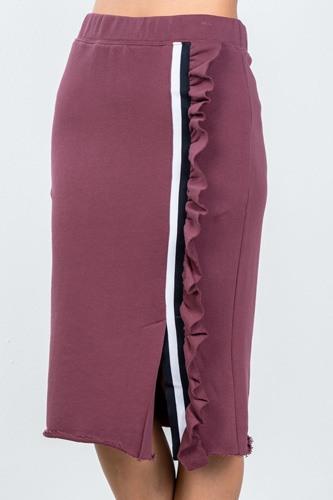 Ladies fashion contrast striped and ruffle midi sweat skirt