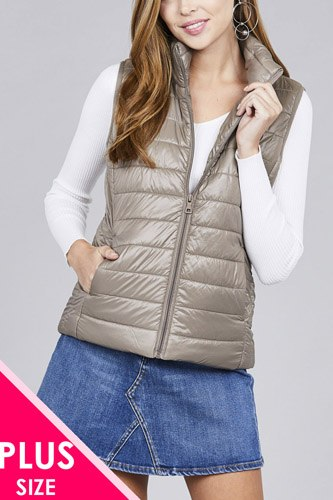 Ladies fashion plus size quilted padding vest