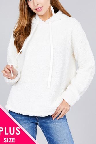 Ladies fashion plus size long sleeve hoodie drawstring faux fur top