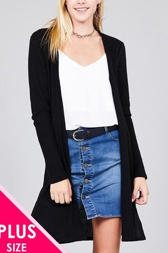 Ladies fashion plus size long sleeve open front side slit tunic length brushed waffle cardigan
