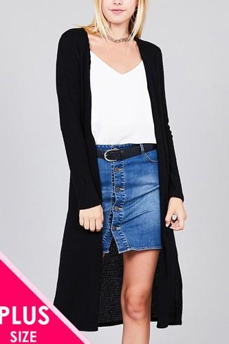 Ladies fashion plus size long sleeve open front side slit midi length brushed waffle cardigan