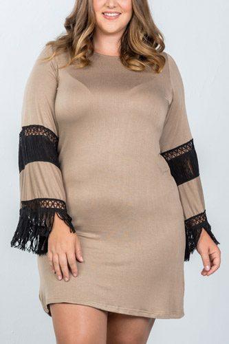 Ladies fashion plus size boho mocha black contrast crochet mini dress