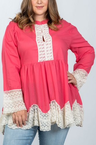 Ladies fashion plus size boho contrast lace trim babydoll tunic top