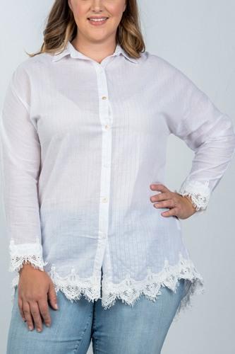 Ladies fashion plus size boho stripe crochet-hem button-up shirt