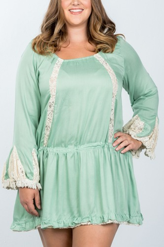 Ladies fashion plus size boho lace trim puff cuff dress