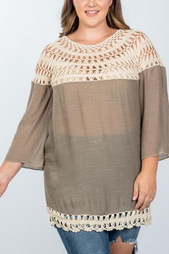 Ladies fashion plus size mocha crochet neckline and hem top