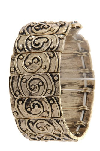 Rustic rectangular shape swirl stretch bracelet