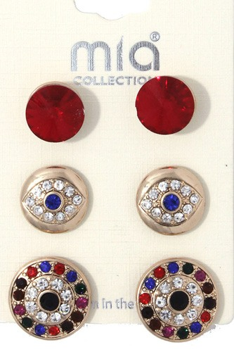 Rhinestone evil eye earring set