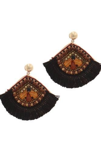 Fan shape post drop earring