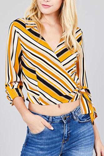 Ladies fashion 3/4 roll up sleeve surplice wrap w/side bow tie multi striped woven top