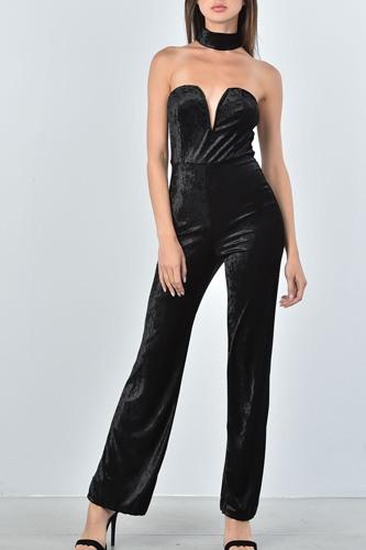 Ladies fashion black velvet plunging neck choker velvet jumpsuit