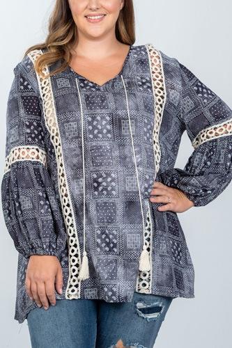 Ladies fashion plus size boho mix print tassel crochet trim top