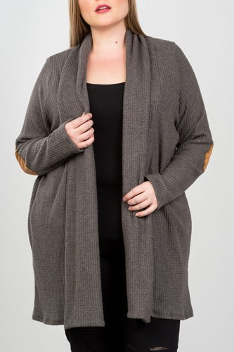 Ladies fashion plus charcoal elbow patch open cardigan