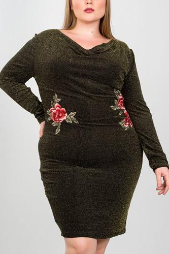 Ladies fashion plus size sexy black and gold metallic draped neck midi dress