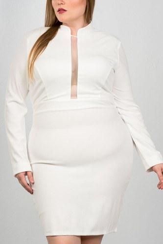 Ladies fashion plus size sexy high neck mesh insert bodycon midi plus size dress