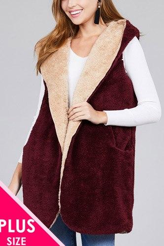 Ladies fashion plus size open front w/hoodie faux fur soft fluffy vest
