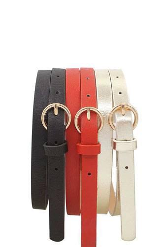 Glossy trio buckle belt set