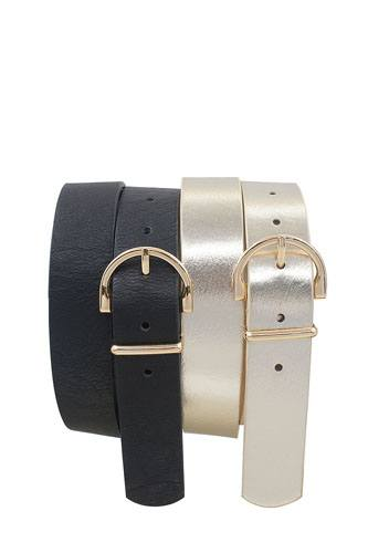 Skinny wide horseshoe buckle duo set belt