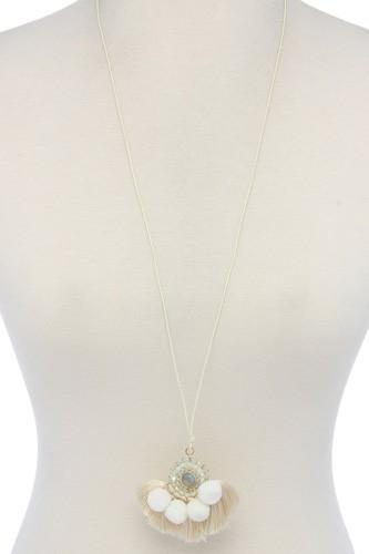 Beaded pom pom tassel pendant necklace
